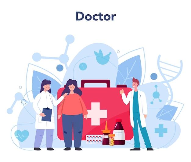Доктор. терапевт осматривает пациента. специалист по общему здоровью. Premium векторы