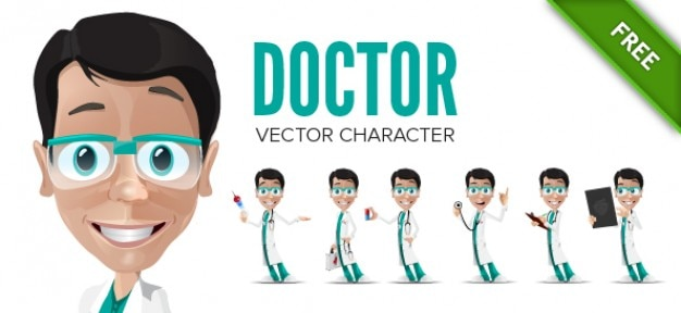 Doctor vector character in poses Vector | Free Download