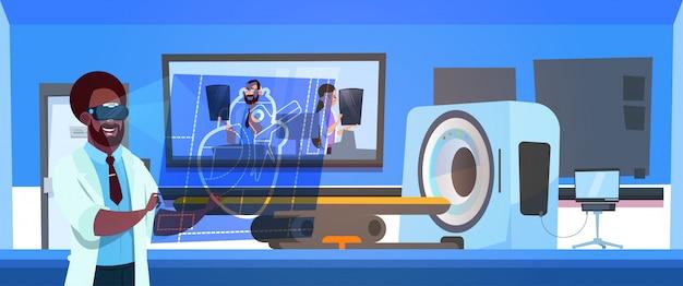 Doctor in vr glasses examine results of mri scanning over machine scanner Premium Vector