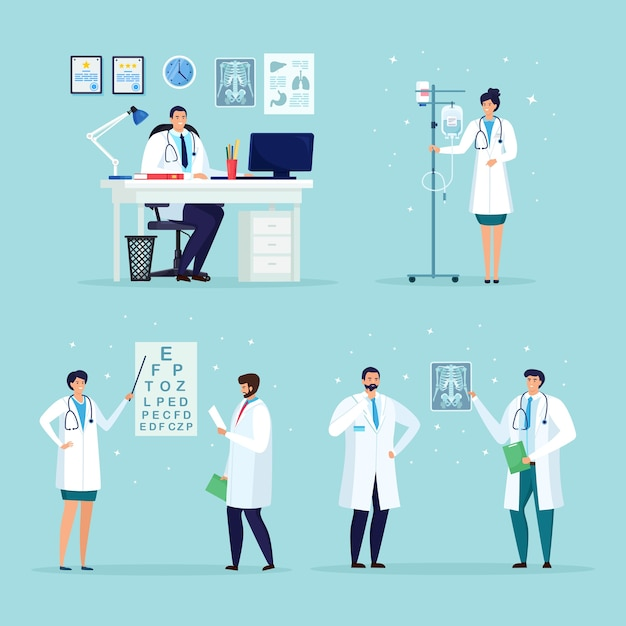 Doctor waiting for the patient at the desk in hospital medical office. nurse with drop counter, dropper. ophthalmologist check eye sight, vision. optical eyes test. Premium Vector