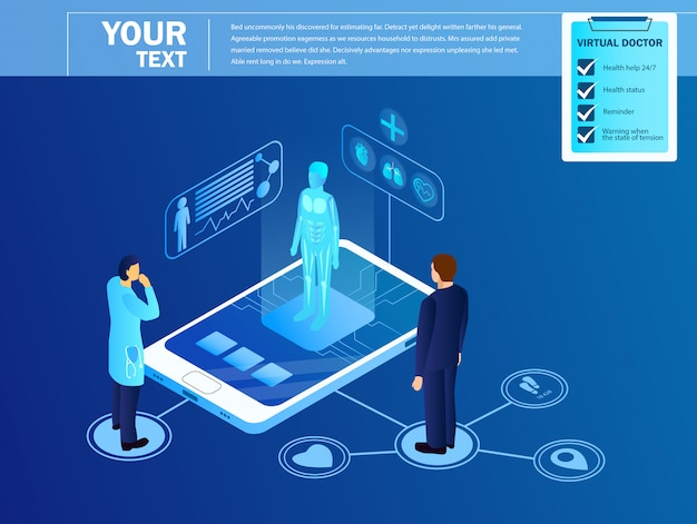 Doctor watching on virtual projection of patient. template Premium Vector