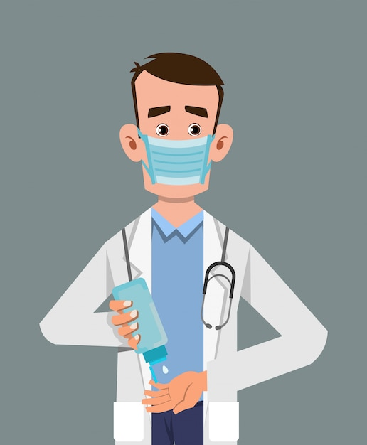 Doctor wear mask and sanitizing hands with sanitizer gel Premium Vector