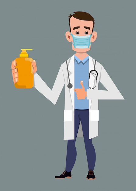Doctor wearing face mask and showing alcohol gel bottle. covid-19 or coronavirus concept illustration Premium Vector