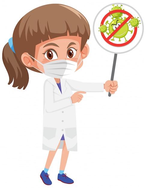 Doctor wearing mask and holding stop coronavirus sign Premium Vector