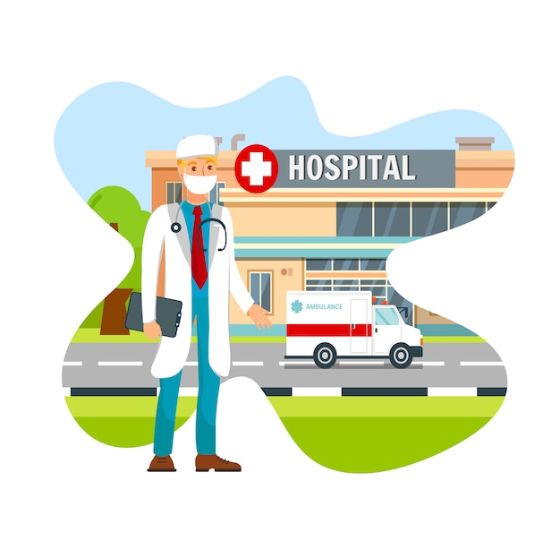 Doctor wearing surgical face mask flat vector Premium Vector