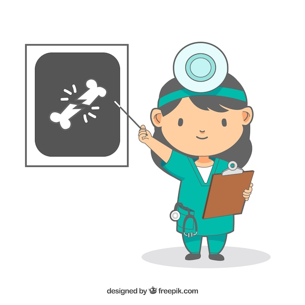 Doctor with clipboard pointing at x ray Free Vector