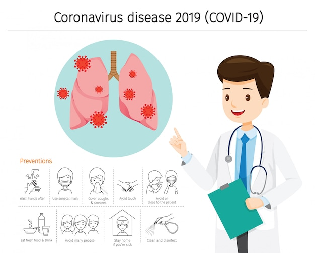 Doctor with coronavirus disease, covid-19 damage lungs. preventions icons Premium Vector