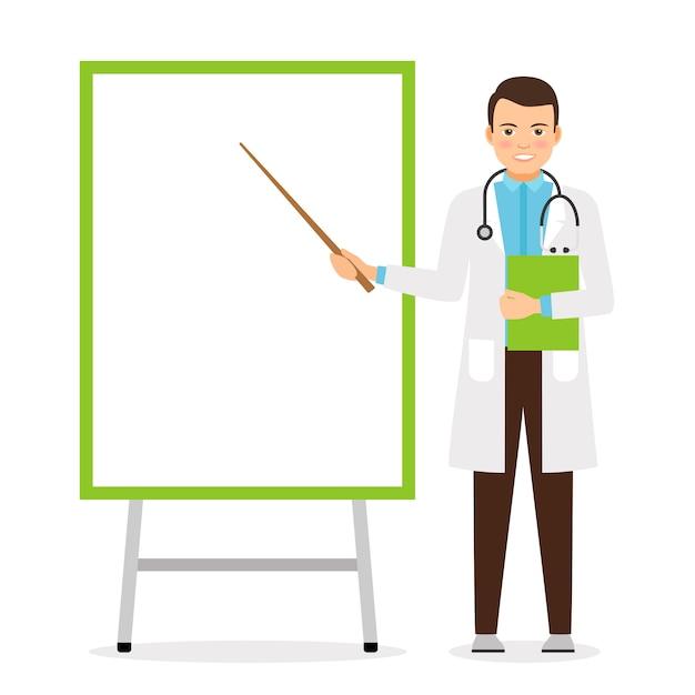 Doctor with flip chart board Premium Vector