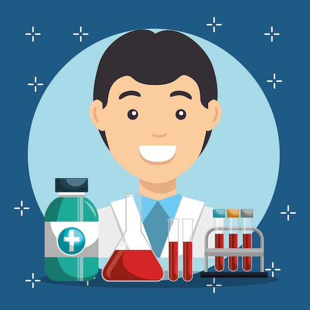 Doctor with medical service icons Free Vector