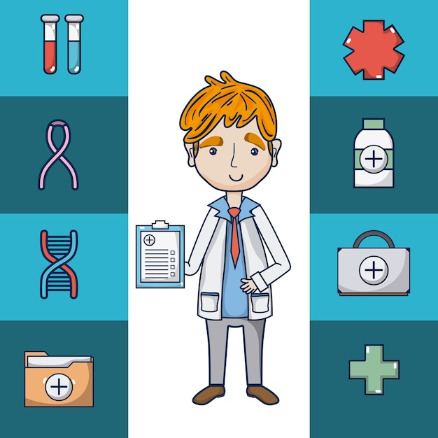 Doctor With Medical Symbols Cartoon Vector Premium Download