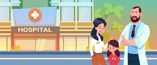 Doctor with mother and daughter standing Premium Vector