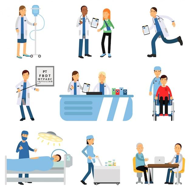 Врач с пациентом, медсестра с капельницей, тележка с лекарствами, кабинет терапевта и окулиста, операционная, приемная Premium векторы