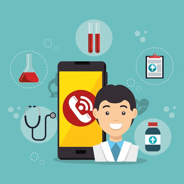 Doctor with smartphone medical services app Free Vector