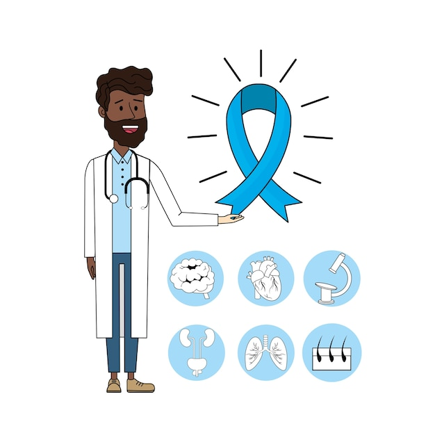 Doctor with stethoscope and ribbon mens health Premium Vector