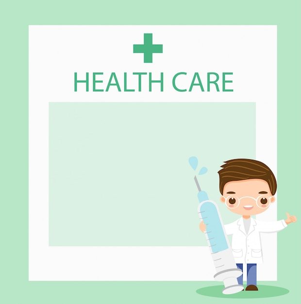 Doctor with syringe guide for healthcare Premium Vector
