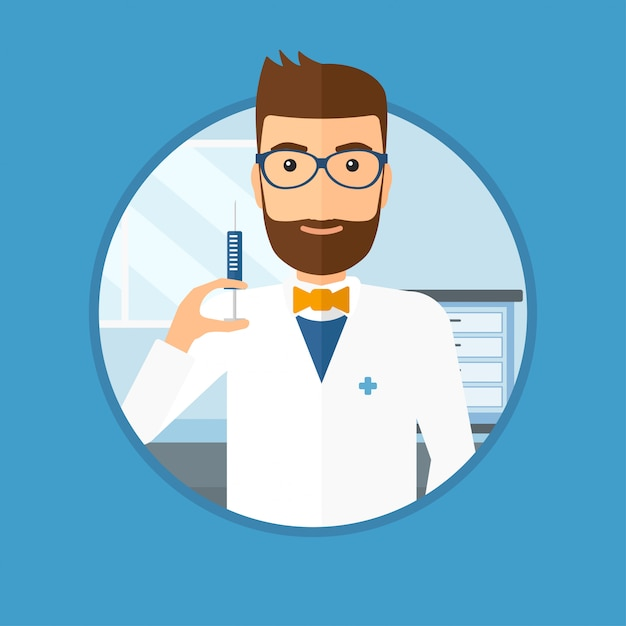 Doctor with syringe in hospital ward. Premium Vector