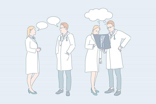 Doctor work medical consultation concilium concept Premium Vector