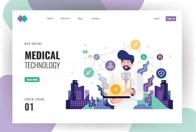 Doctor working on a digital tablet. Premium Vector
