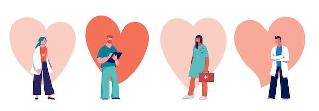 Дизайн концепции врачей и медсестер - группа медицинских специалистов. векторная иллюстрация Premium векторы