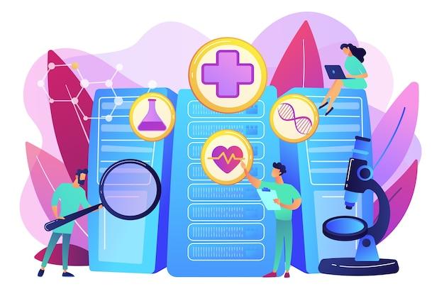 Врачи и персонализированная предписывающая аналитика. здравоохранение с большими данными, персонализированная медицина, уход за пациентами с большими данными, концепция предиктивной аналитики. яркие яркие фиолетовые изолированные иллюстрации Бесплатные векторы