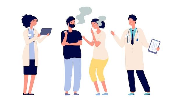 Врачи и курильщики. наркотическая зависимость. вектор мужские женские персонажи. врачи предлагают помочь избавиться от зависимости. иллюстрация курят люди и доктор, зависимость от сигарет Premium векторы