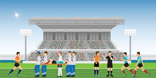Doctors are helping the injured soccer player. Premium Vector