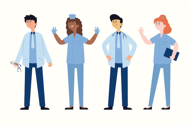 Doctors in blue uniforms standing and talking Free Vector