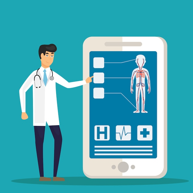 Doctors examining a patient using a medical app on a smartphone, online medical consultation and technology concept Premium Vector