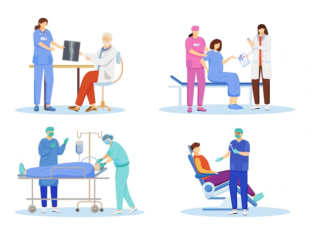 Doctors flat vector illustrations set. general practitioners, therapists, surgeons cartoon characters. resuscitation, first aid and surgical operation. dentist, orthopedic isolated on white Premium Vector