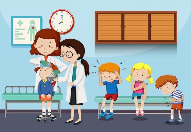 Doctors helping injured children Free Vector
