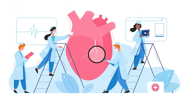 Premium Vector | Doctors in laboratory researches heart organ healthcare  medical concept flat vector illustration. cardiologists men women check  cardiogram, determine diagnosis disease treatment. pharmacy research