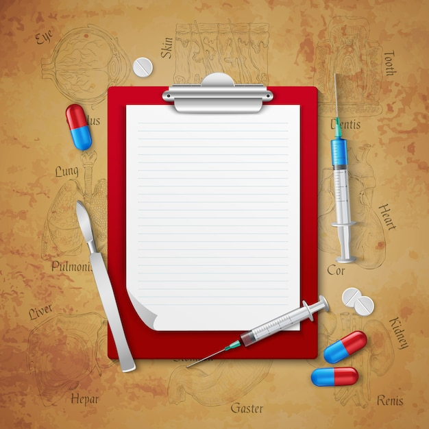 Doctors notebook medical composition Free Vector