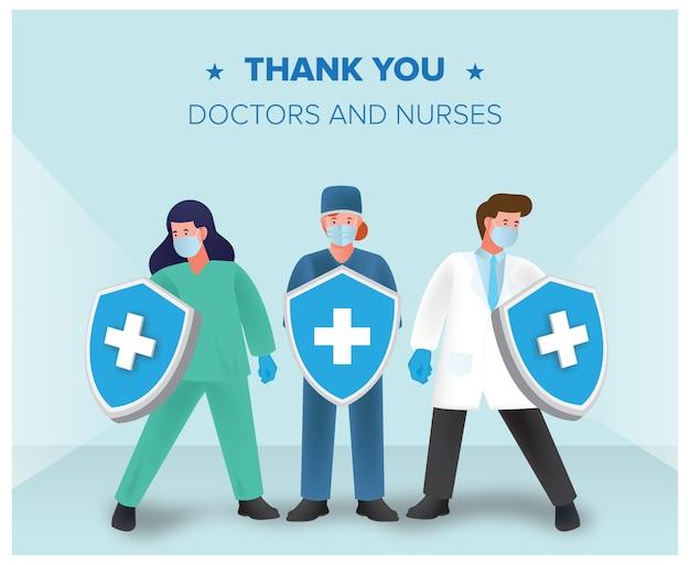 医師と看護師がシールド無料ダウンロードでコロナウイルスと戦う Premiumベクター