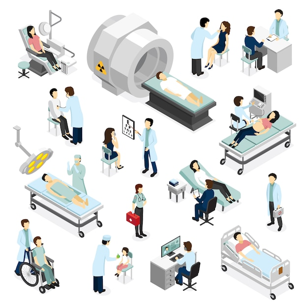 Doctors and patients in clinic Free Vector
