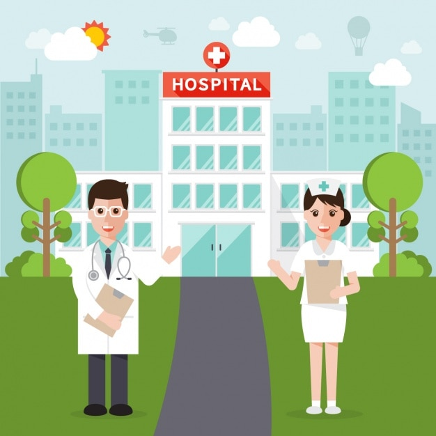 Doctors posing in front of hospital Free Vector