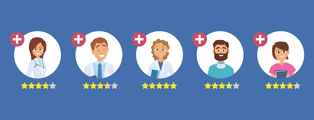 의사 평가. 5 개의 별 등급 개념. 좋은 의사를 찾으십시오. 의료진은 일러스트레이션을 검토합니다. 의료 의사 등급, 의사 검토 프리미엄 벡터