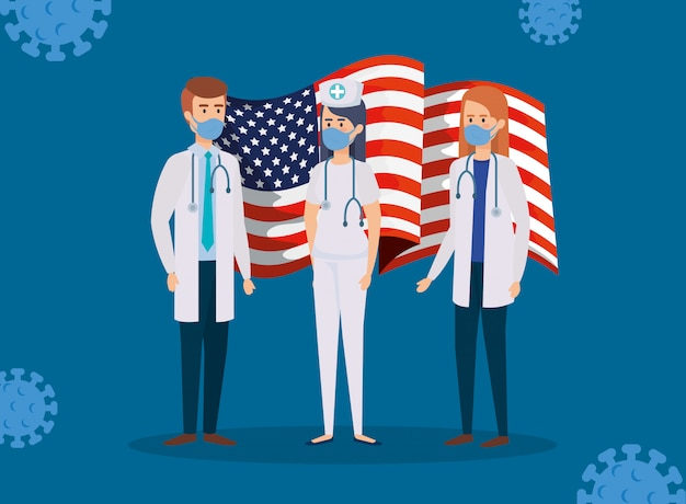 Doctors staff with usa flag and covid19 particles Free Vector