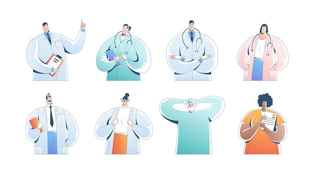 Бригада врачей. медицинский персонал врач медсестра терапевт хирург профессиональные работники больницы. Premium векторы