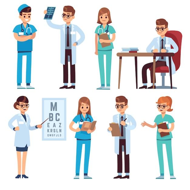 Команда врачей. медицинский персонал люди врач медсестра хирург фармацевт стоматолог профессиональный медик больницы униформа, персонажи Premium векторы