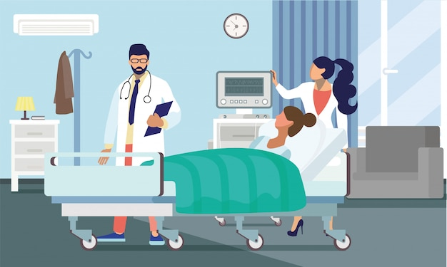 Doctors treating patient flat vector illustration Premium Vector