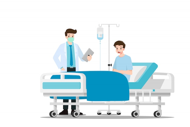 The doctors visit and treating the patient. Premium Vector