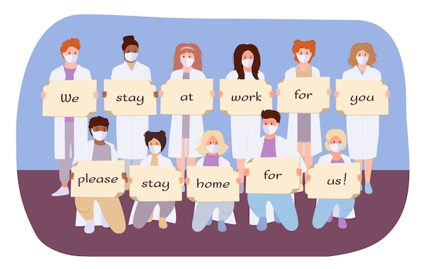 Doctors in white coat, medical mask hold banner stay home stop coronavirus. cartoon international paramedics protected from virus Premium Vector
