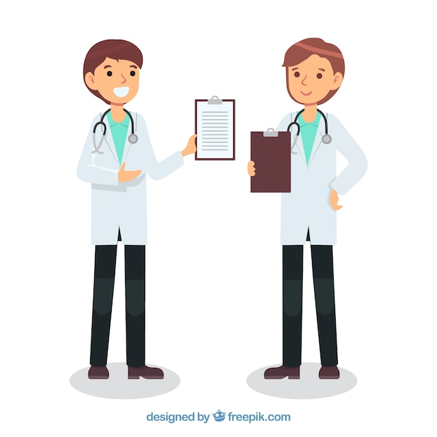 Doctors with clipboard in hand drawn\ style