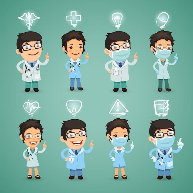 Doctors with icons set Premium Vector