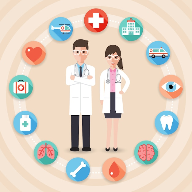 Doctors with medical icons. Premium Vector