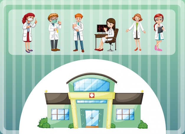 Doctors working at the hospital Free Vector