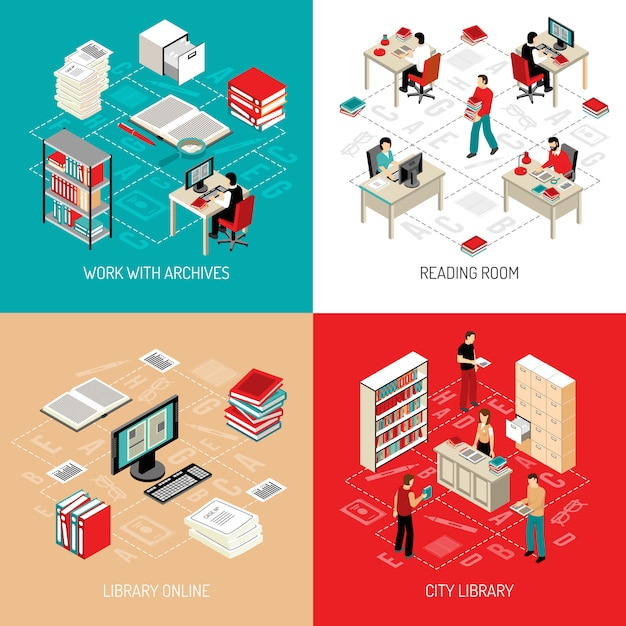 Document archive library isometric elements and characters Free Vector