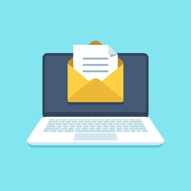 Document email on notebook Premium Vector