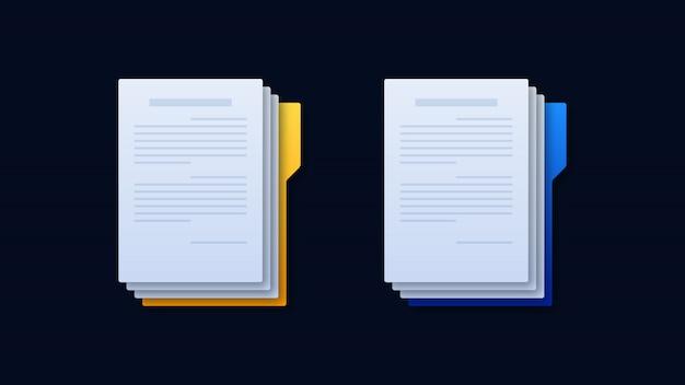Document folder icons illustration Premium Vector