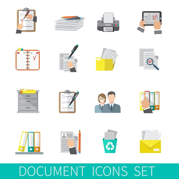 Document icon flat Free Vector